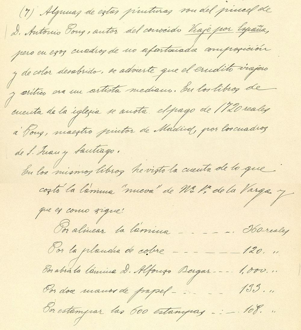 Fragmento del Catálogo Monumental de Guadalajara de don Juan Catalina García López